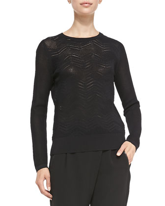 Crewneck Zigzag Mesh Sweater, Black
