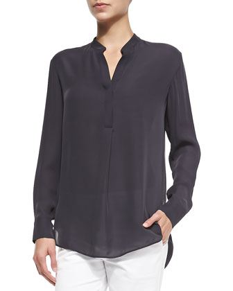 Half-Placket Silk Tunic, Hematite
