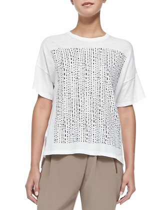 Short-Sleeve Tee W/ Tribal-Print Square