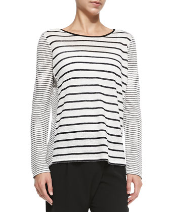 Mixed-Stripe Linen Slub Top, Chalk/Black