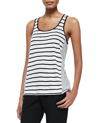 Mixed-Stripe Linen Tank, Chalk/Black