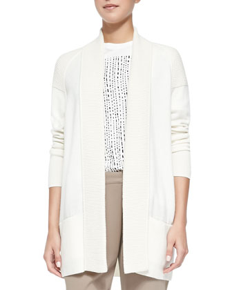 Cashmere-Blend Shawl Cardigan, Off White