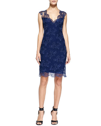 Embroidered Lace Sheath Dress, Royal
