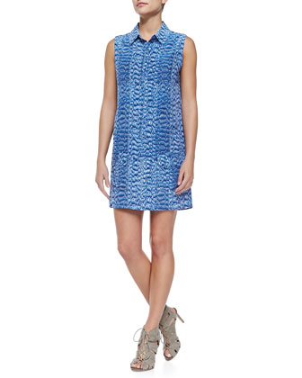 Lucida Sleeveless Reptile-Print Shirtdress