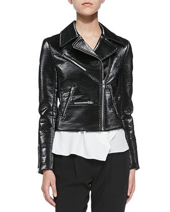 Clarke Moto Jacket W/ Shiny Coating, West Sleeveless Top W/ Layered Hem ...