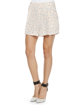 Van Floral Triple-Layer Top & Wide-Leg Floral Shorts