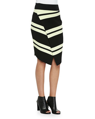 Cory Striped Knit Crop Top & Clift Striped Asymmetric Wrap Skirt