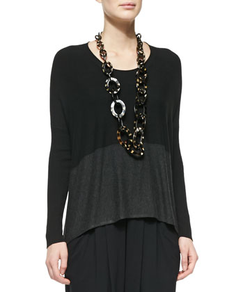 Long-Sleeve Two-Tone Box Top, Black/Charcoal
