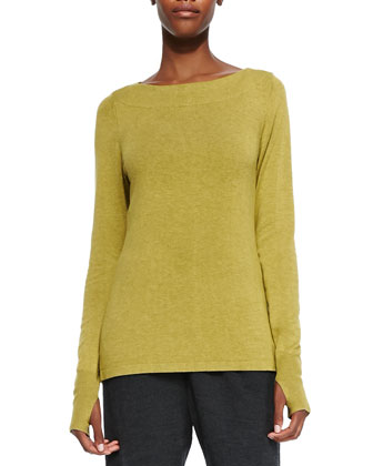 Glovette-Sleeve Stretch Knit Top, Petite