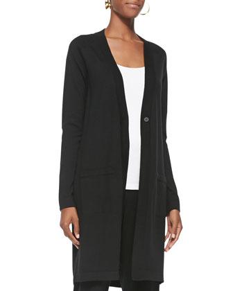Merino Wool Long-Sleeve Cardigan, Airy Grid-Striped Linen/Wool Scarf, ...