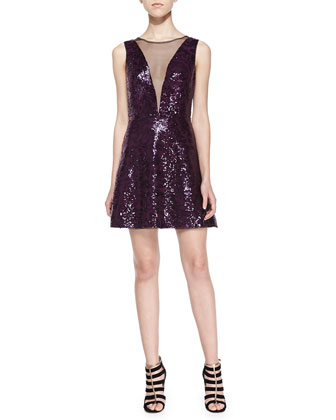 Sleeveless Sequined Plunge-Illusion Dress