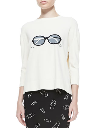 Sunglasses Easy Knit Sweater & Flip Flop Printed Pencil Skirt