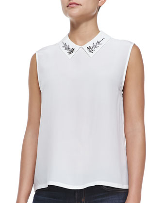 Elliot Sleeveless Shirt W/ Embellished Collar