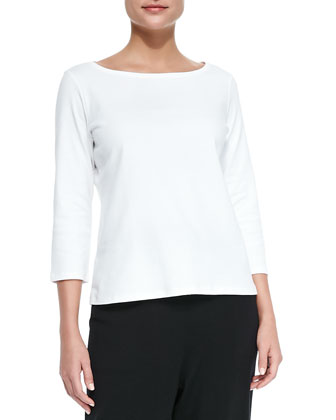3/4-Sleeve Organic Cotton Tee, White