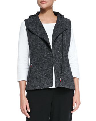 Jacquard Stretch Hooded Zip-Front Vest, Petite