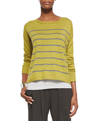 Merino Striped Wool Top, Slim Tank & Cozy Slouchy Ankle Pants