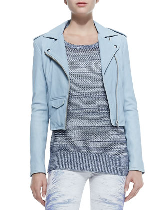 Ashville Zip-Front Moto Jacket, Yana Boat-Neck Sweater W/ Slashed Sleeves & ...