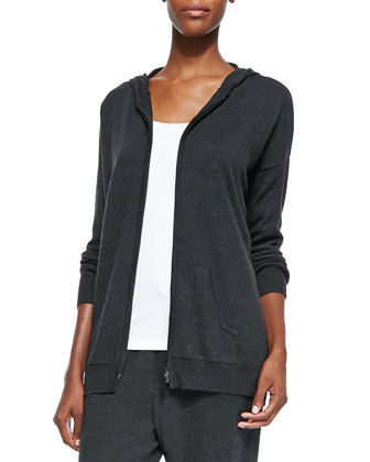Hooded Zip-Front Cardigan, Petite