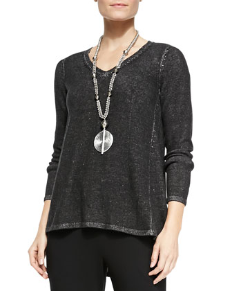 Plaited V-Neck Tunic, Black