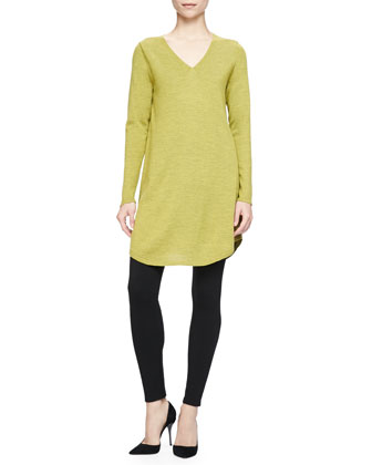 Long-Sleeve Merino Jersey V-Neck Dress, Women's