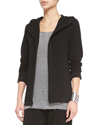 Fleece Hooded Zip-Front Jacket