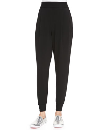 Slouchy Fleece Ankle Pants, Black, Petite