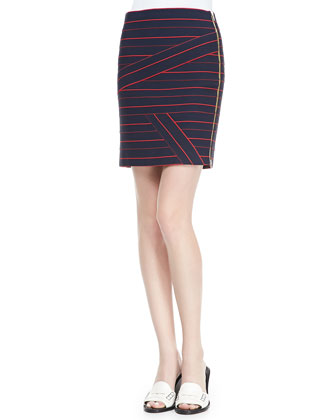 Sleeveless Collared Silk Blouse & Striped Side-Zip Knit Skirt