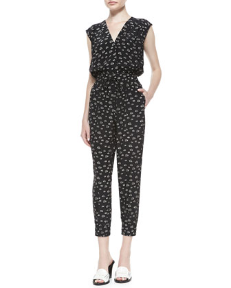 V-Neck Cropped Snail-Print Jumpsuit