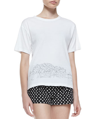 Polka-Dot Boxy Zip Jacket, St. Tropez Sketched Cotton Tee & Polka-Dot ...