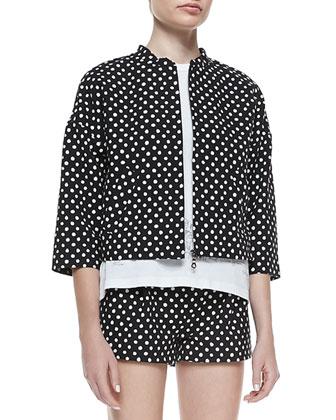 Polka-Dot Boxy Zip Jacket