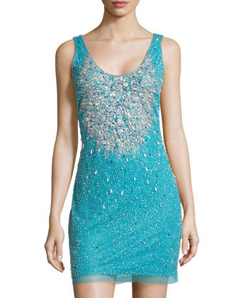 Scoop-Neck Beaded Tank Dress, Bright Aqua