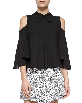 Bangus Cold-Shoulder Top W/ Ruffled Trim