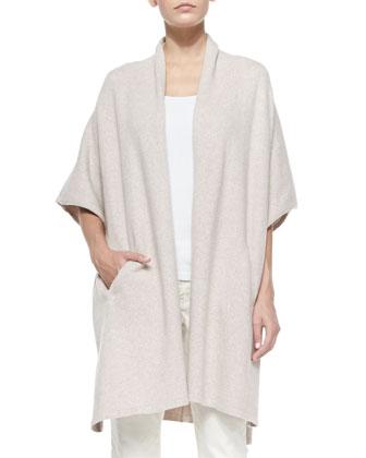 Cotton-Blend Kimono Cape, Slim Tank, Wool Bands Striped Scarf & Slim ...