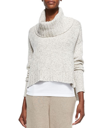 Drapey Turtleneck Cropped Top, Maple Oat