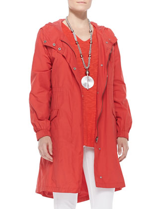 Hooded Long Anorak Jacket, Women's