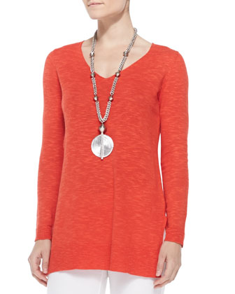 Organic Linen/Cotton Slub V-Neck Tunic, Women's