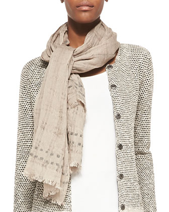 Airy Grid-Striped Linen/Wool Scarf, Almond