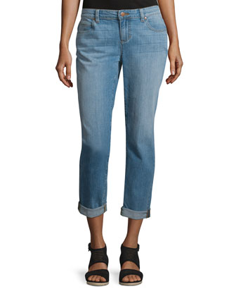 Stretch Boyfriend Jeans, Faded Blue