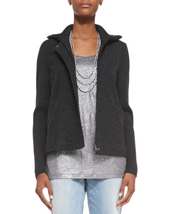 Felted Melange Zip-Front Jacket, Beaded Silk Cord Necklace, Organic Linen ...