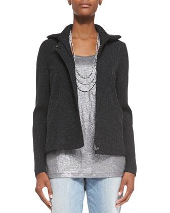 Felted Melange Zip-Front Jacket, Petite