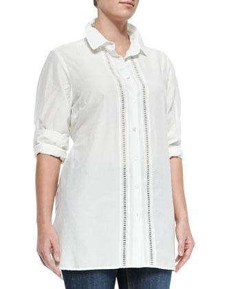 Baccheo Cotton Silk Center-Trim Blouse, Women's