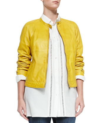 Ebanista Leather Biker Jacket, Center-Trim Blouse & Idioma Low-Rise Stretch ...