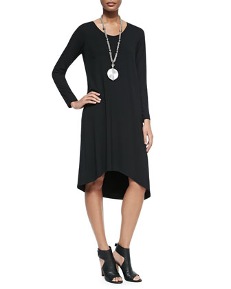 Long-Sleeve Asymmetric Jersey Dress, Petite