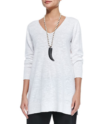Organic Linen/Cotton Slub V-Neck Tunic, White, Women's