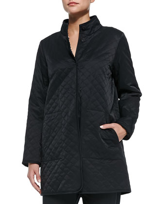 Quilted Long Jacket W/ Fleece Lining, Slub V-Neck Tunic, Grid-Striped ...