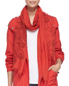 Pigment-Printed Floral Fringe-Trim Scarf, Red Poppy