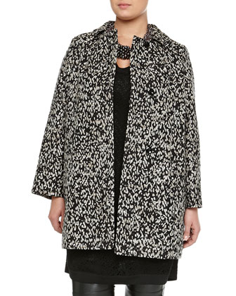 Tulipano Metallic Animal-Print Overcoat, Women's