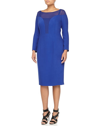Edolo 3/4-Sleeve Illusion-Neck Dress, China Blue, Women's
