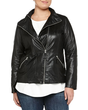 Emma Perforated Leather Biker Jacket, Women's