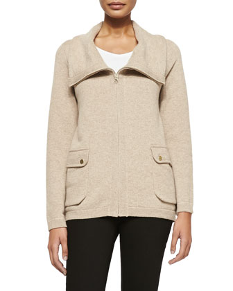 Cowl Neck Zip-Front Cashmere Sweater